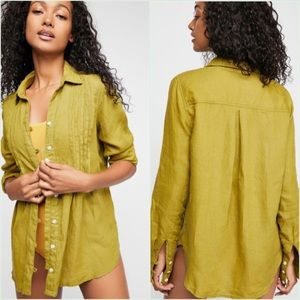 Free People Beeezy Mornings Linen Buttondown Top L